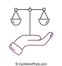 échelle, icône, levage, équilibre, style, ligne, main
