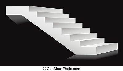 échelle, illustration, podium, vecteur, escaliers, escalier, ou