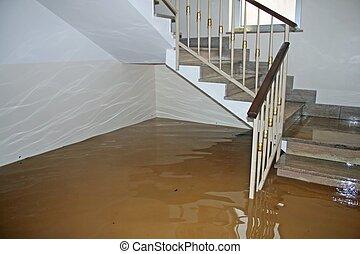 échelle, inondé, pleinement, maison, pendant, rivière, ...