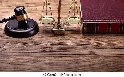 échelle, justice, juge, livre, marteau, droit & loi
