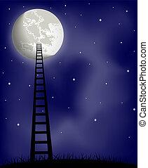 échelle, lune, vecteur