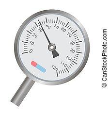 échelle, métal, mince, thermomètre, indicateur, rond