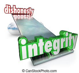 échelle, malhonnêteté, vs, mots, contraires, équilibre, intégrité