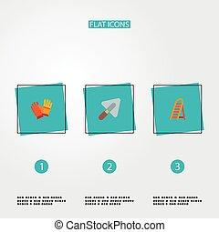 échelle, mobile, construction, style, autre, toile, logo, ton, icônes, ouvrier, symboles, design., gants, ensemble, app, truelle, plat