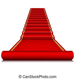 échelle, moquette rouge