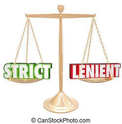 échelle, or, strict, vs, mots, contraires, lenient, 3d