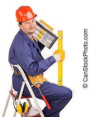 échelle, ouvrier, hammer.