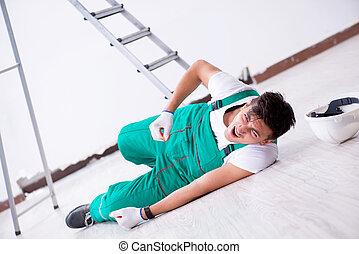 échelle, ouvrier, jeune, tomber