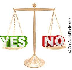 échelle, peser, non, vs, mots, réponse, oui, options