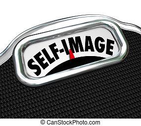 échelle, poids conscient, soi, exposer, perdre, image