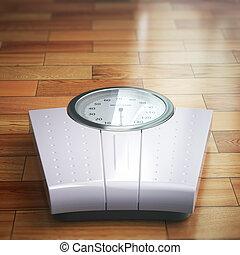 échelle, poids, espace, bois, text., floor.