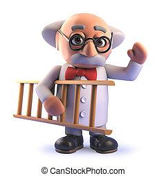 échelle, prof, scientifique, fou, tenue, dessin animé, 3d