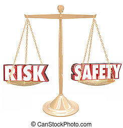 échelle, risque, danger, comparer, vs, sécurité, mots, ...