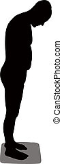 échelle, silhouette, homme