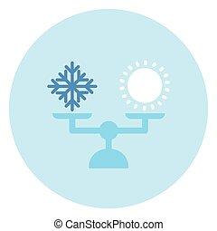 échelle, soleil, neige, temps, équilibre, icône