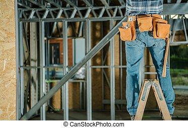 échelle, travailler hommes