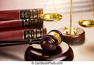 échelle, tribunal, fond, juge, livres, lot, marteau