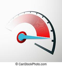 échelle, vitesse, das, arrow., mesure, compteur vitesse