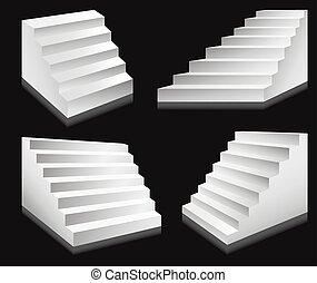 échelles, podium, vecteur, escaliers, escalier, ou