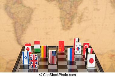échiquier, drapeaux, pays