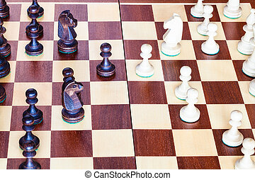 échiquier, haut, échecs, fin, gameplay, vue côté