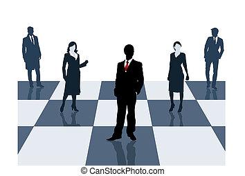 échiquier, hommes affaires, stand