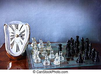 échiquier, jeu, et, dali-like, horloge