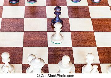échiquier, mouvements, échecs, pion, premier