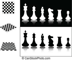 échiquiers, morceaux échecs