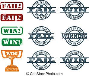 échouer, gagner, timbres