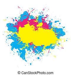 éclaboussé, coloré, peinture