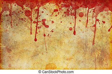 éclaboussé, taché, vieux, sanguine, parchemin