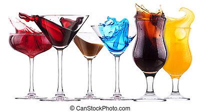 éclaboussure, alcoolique, cocktail, ensemble