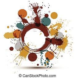 éclaboussure, art graphique, coloré, modèle, taches, seamless, chevauchement, cercles, clair, vecteur, traced., fond, encre, acrylique, balayé, reprise