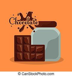 éclaboussure, barre, carte, bouteille, chocolat