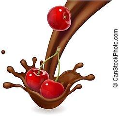 éclaboussure, cerise, isolé, fruit, chocolat, fondu