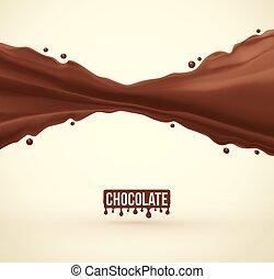 éclaboussure, chocolat