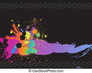 éclaboussure, coloré, encre