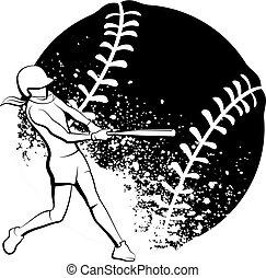éclaboussure, girl, pâte, stylisé, balle, derrière, softball