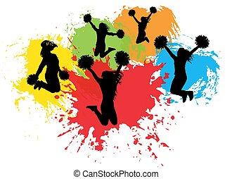 éclaboussure, illustration, (blots), fond, sauter, silhouettes., vecteur, cheerleaders, coloré, pompoms