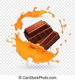 éclaboussure, illustration, chocolat, réaliste, vecteur, caramel