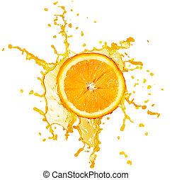 éclaboussure, jus orange, isolé, blanc