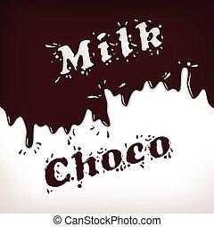 éclaboussure, lait, choco