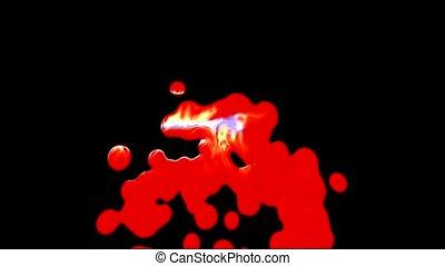 éclaboussure, liquide, épais, sanguine, rouges