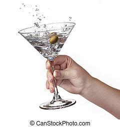 éclaboussure, main, isolé, martini, womans