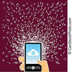 éclaboussure, musique, main, téléphone, intelligent, humain, notes