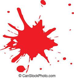 éclaboussure, ou, sanguine, rouges, encre