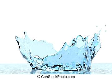 éclaboussure, peu profond, blanc, isolé, sélectif, eau, foyer, clair, cristal, couronne, coup, arrière-plan., dof, macro