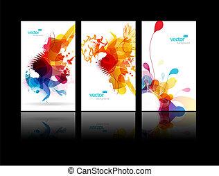 éclaboussure, résumé, ensemble, coloré, illustrations.