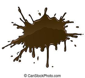 éclaboussure, tache, tache, gouttes, chocolat